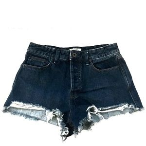 Free People Frayed Denim Shorts Button Fly Size 28